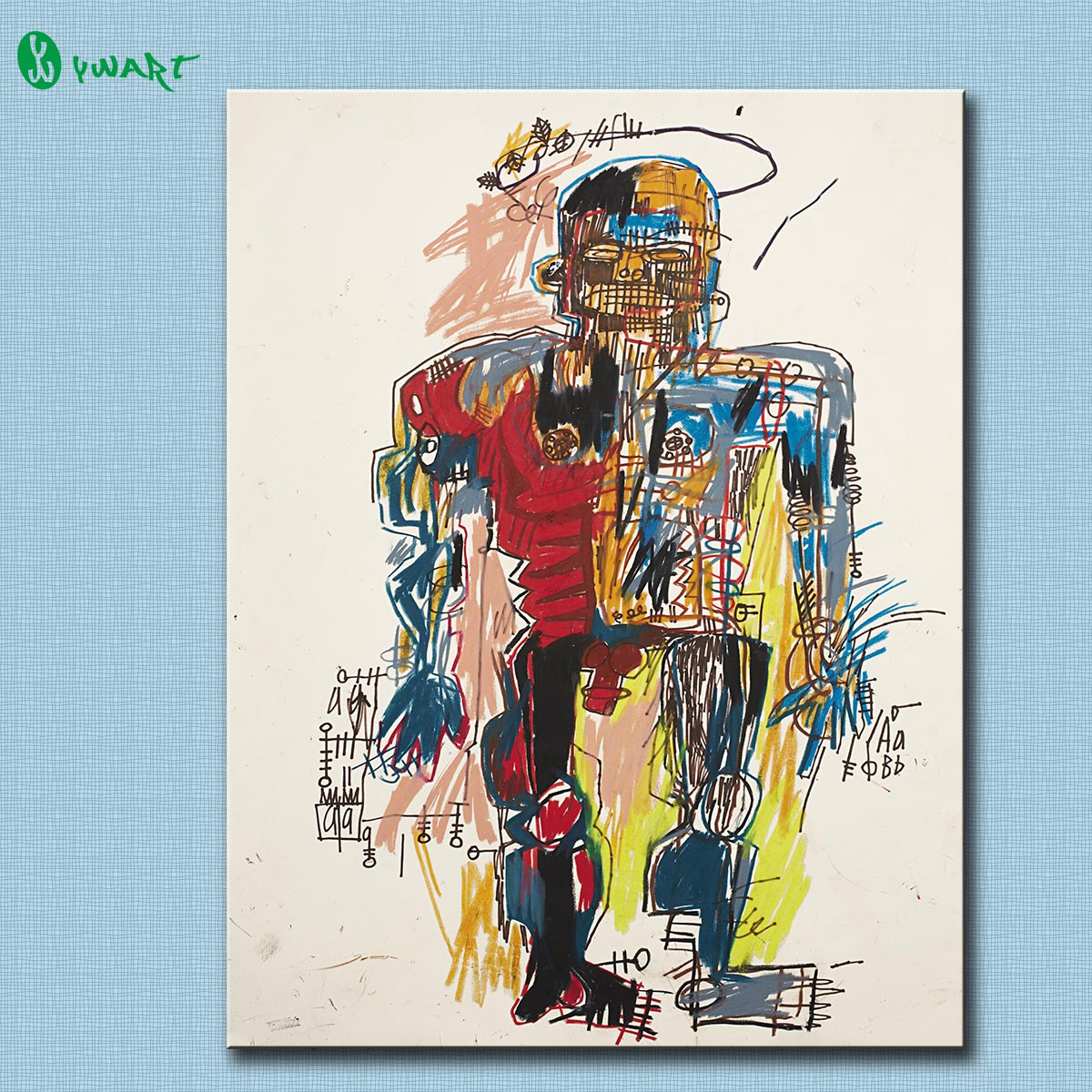 Self-Portrait 1982 by Jean-Michel Basquiat GRAFFITI ART POSTER PRINT ON CANVAS FOR HOME DECORATION Free Shipping(China (Mainland))