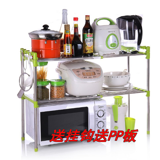 Stainless steel microwave oven shelf length can be adjusted freely Double shelf High quality stove rack Kitchen storage rack(China (Mainland))