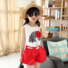 Children's wear the new summer 2015 han edition printed shorts girl child fashion sleeveless two-piece children's suit retail