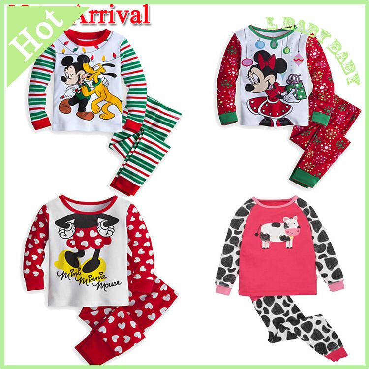 New Hot sell arrival 2 pcs/set Baby&Kids Pajamas sets Christmas Boys girl Suit T-shirt+pants sets 2-7T free shipping(China (Mainland))