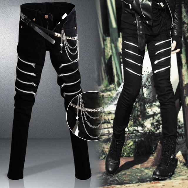 Большой размер 27-34 мужчины панк черные джинсы бедра массив 8 металлическими молниями ...