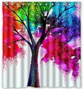 Polyester personnalis rideau de douche 60 x 72 arbre turquoise - Rideau de douche arbre ...