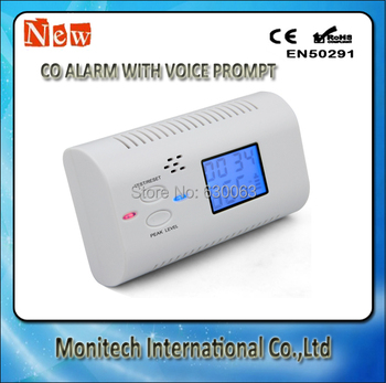 Brand New Hot Sale Digital LCD Display Battery-Operated Carbon Monoxide Alarm Sensor with Voice Warning -White