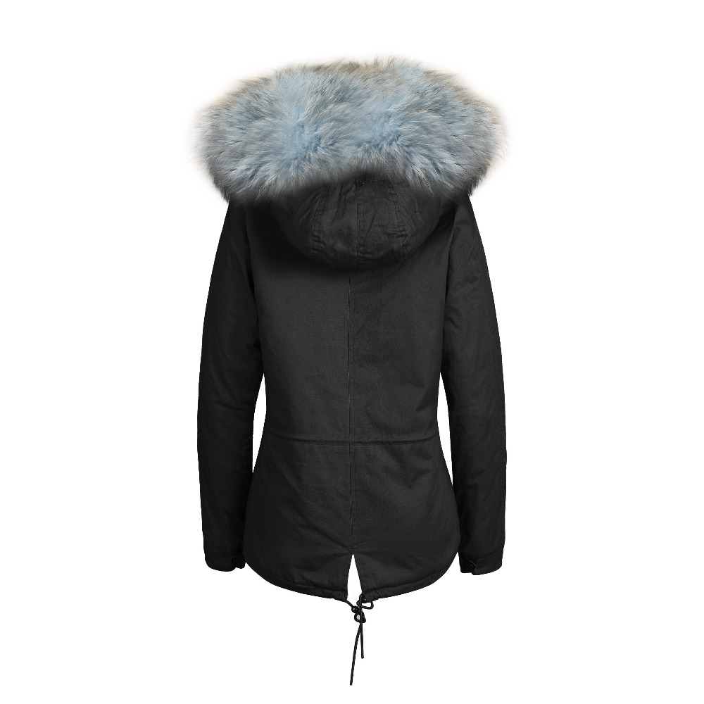 2016 fashion design women fox fur parka  with real fur lining and big raccoon fur hooded trim factory wholesale price parka