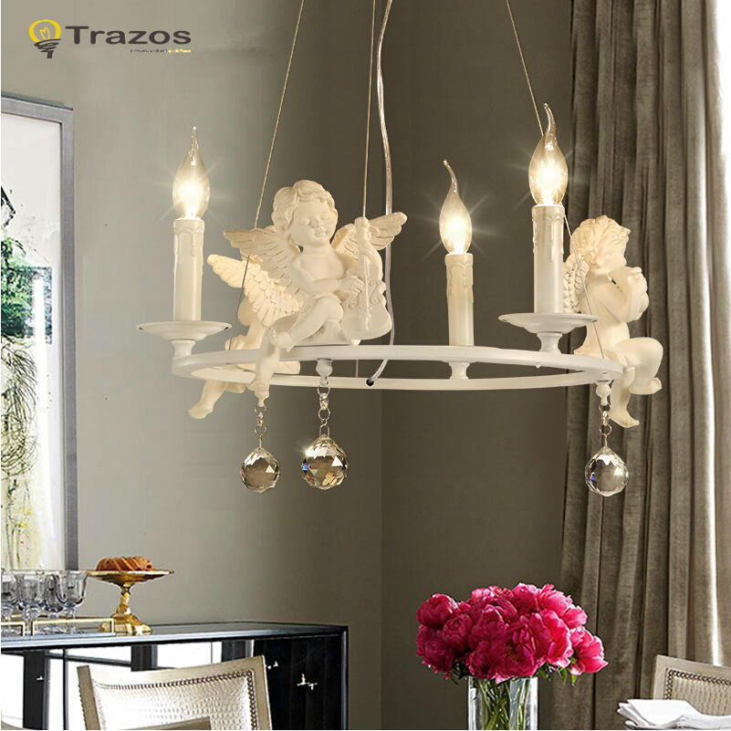 Modern Crystal Chandeliers With The Angel For Living Room Light Modern Lamps lustre Lighting Led Pendant(China (Mainland))