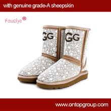 ON SALE Genuine sheepskin pearl snow women boots(China (Mainland))