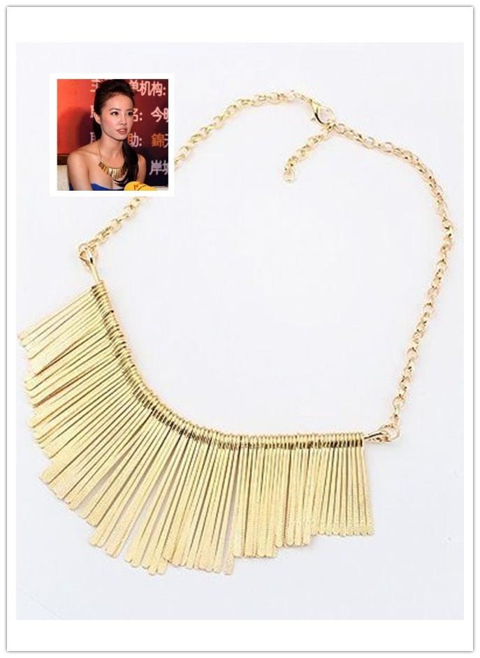 Tassel Choker Bib Necklace Fashion Flexibly Boho Spotted Metal Sector Adjustable Wholesale Free Shipping(China (Mainland))