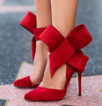 Plus Size Shoes Women Big Bow Tie Pumps 2015 Butterfly Pointed Stiletto Shoes Woman High Heels Wedding Shoes Free Shipping