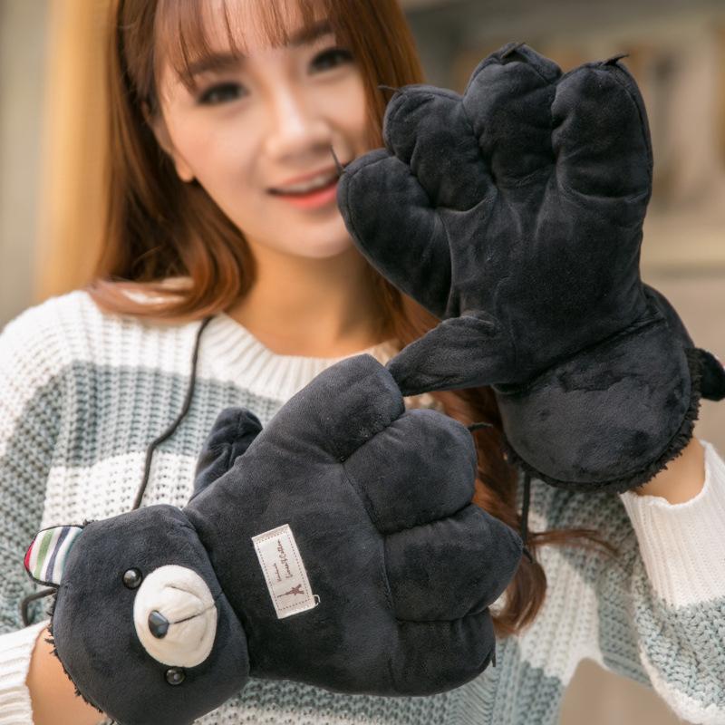 12pairs/lot Lovely Cartoon Bear Design Full Finger Gloves Fluffy Knitting Mittens Girls Winter Hand Wrist Warmers GL211(China (Mainland))