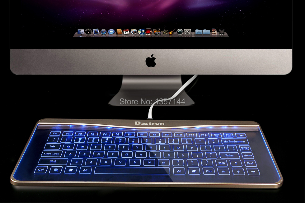 Bastron Slim Transprent Touch Screen Glass Keyboard Blue Backlighting Mouse and Touchpad Function for Apple Windows PC Computer(China (Mainland))