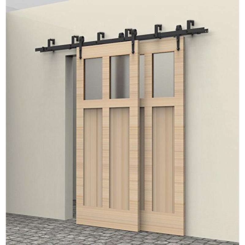 5-10FT rustic interior doors bypass sliding barn wood door hardware steel Arrow country style black barn door hardware set kit(China (Mainland))