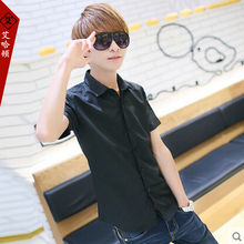 T Aliexpress new summer 2015 korean version tide men slim fashion leisure short-sleeved shirt china cheap wholesale(China (Mainland))