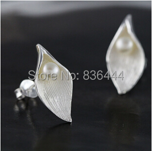 buy direct from china hot selling fashion stud earrings jewelry white flower leaves 925 sterling silver earrings for women(China (Mainland))