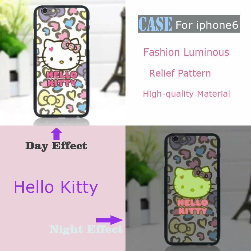 Wholesale mobile phone Case Cover For Iphone6 4.7inch lovely hello kitty pattern Relief Luminous glow in the dark(China (Mainland))