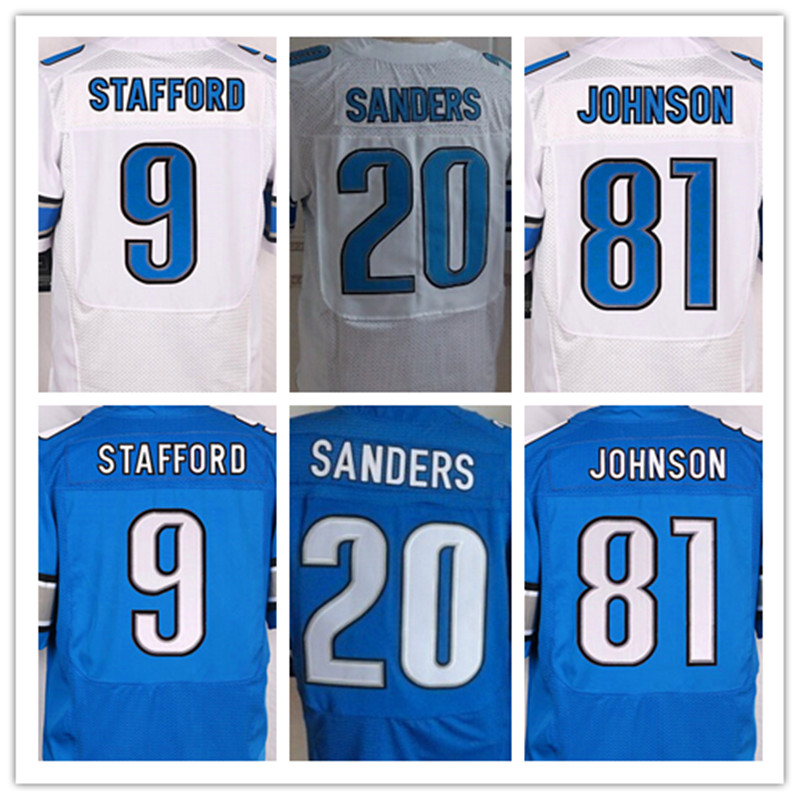 Best quality jersey,Men's 9 Matthew Stafford 20 Barry Sanders 81 Calvin Johnson elite jerseys,White and Blue,Size 40-56(China (Mainland))