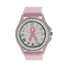 Newly Design Women Girl's Pink Cancer Symbol Watch Quartz Rhinestone Silicone Jelly Watches Dec30