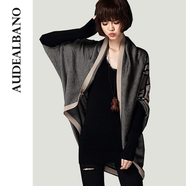 Audealbano высокого класса ретро старинные вязаный платок свитер средней длины широкий Batwing рукавом кардиган женщин свитера
