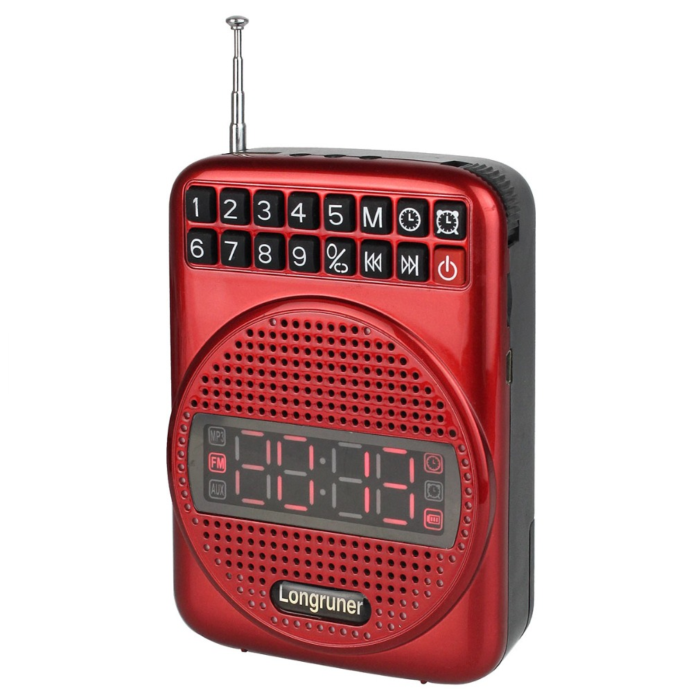 Portable 20W FM Radio Voice Amplifier Booster Loudspeaker with Microphone FM Radio Clock Alarm Y4182