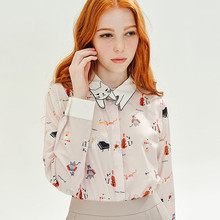 2016 vintage British style summer tops cute cat print embroidery womens shirts long sleeve camisa mujer(China (Mainland))