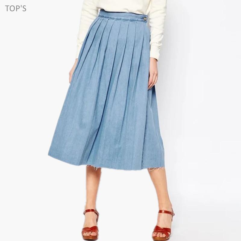 2016 summer tencel denim skirt pleated skirts
