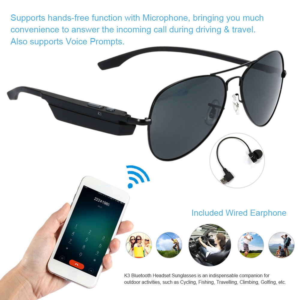 Bluetooth Wireless Sunglasses Wearphone Polarized Glasses Voice Control Phone Call Sports Smart Earphone Anti UV Resist