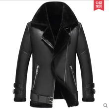 Men jacket leather coat sheepskin wool inner soft warm winter new fashion casual style TOP Quality clothing Free shipping Sale(China (Mainland))