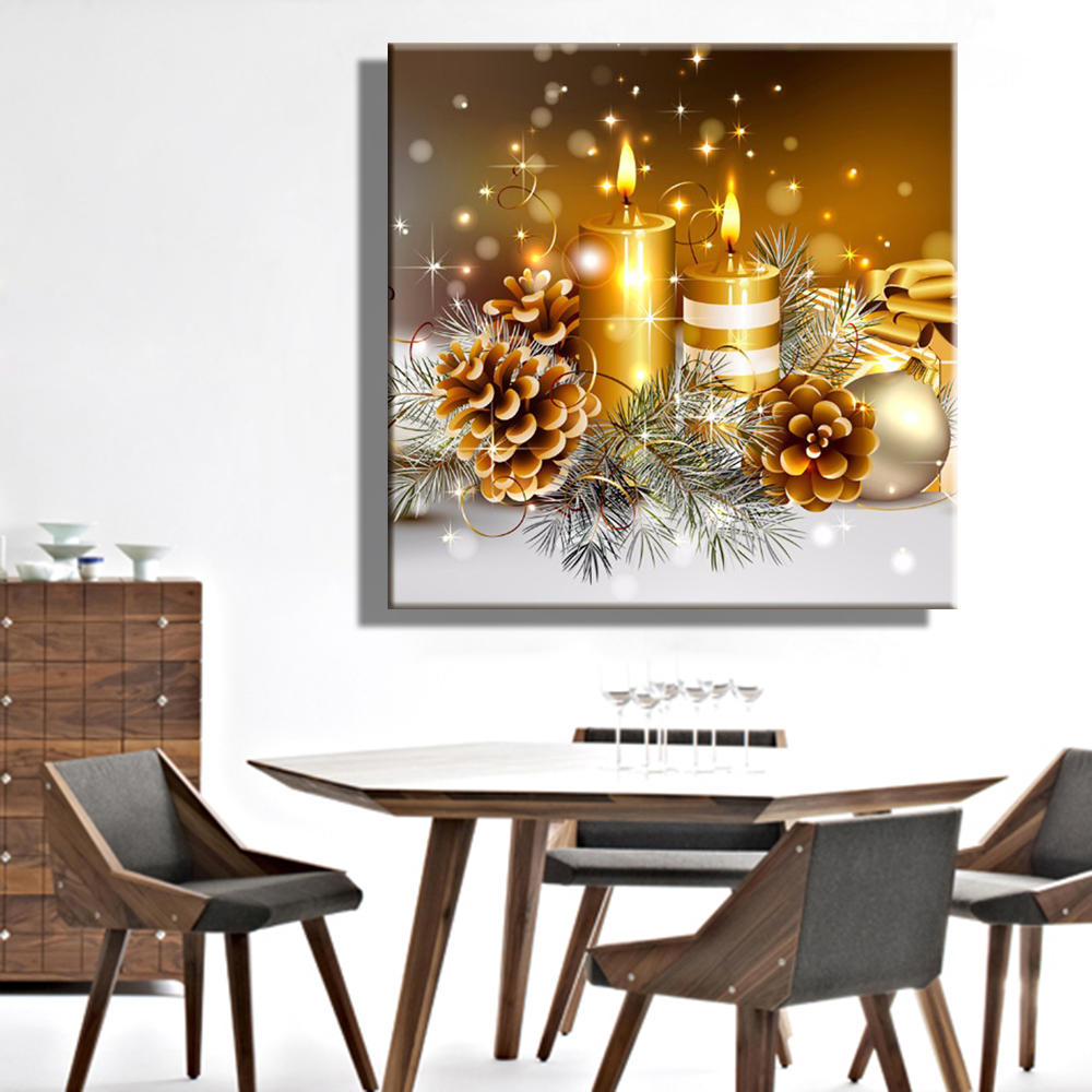 Stretched Abstract Art LED christian pictures free Canvas Print Christmas Candle LED Flashing Optical Fiber Print(China (Mainland))