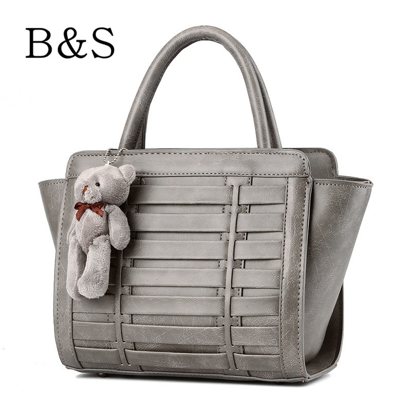 PU Leather Weave Female Handbags Vintage Cross-body Messenger Bags For Women Lovely Bear Shoulder Over Bag Kabelky 6 Colors 2016(China (Mainland))