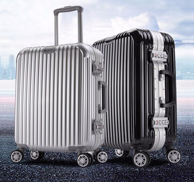 1 Pcs chics Diamond style black trolley suitcase rolling luggage with alluminum alloy shell frame for traveling 20 24 28 inches<br><br>Aliexpress