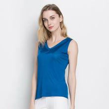 Women tank tops 100% Natural silk solid basic shirt V neck vest barlet femininas tank top black white new Summer Spring