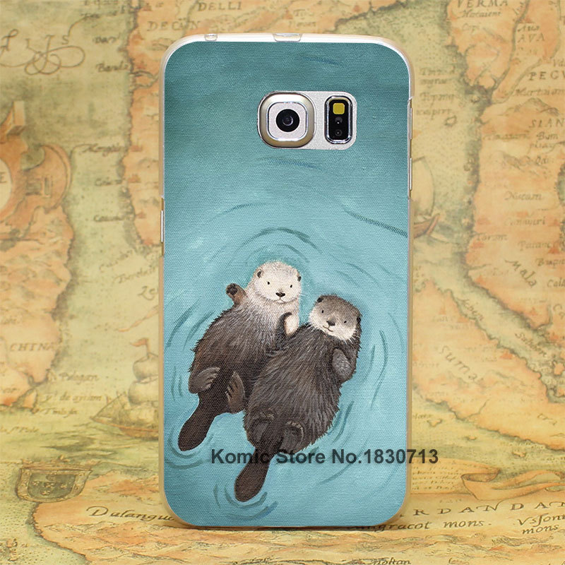 lovely otters holding hands Design hard transparent clear Skin Cover Case for Samsung Galaxy S3 S4 S5 S6 S6 edge(China (Mainland))