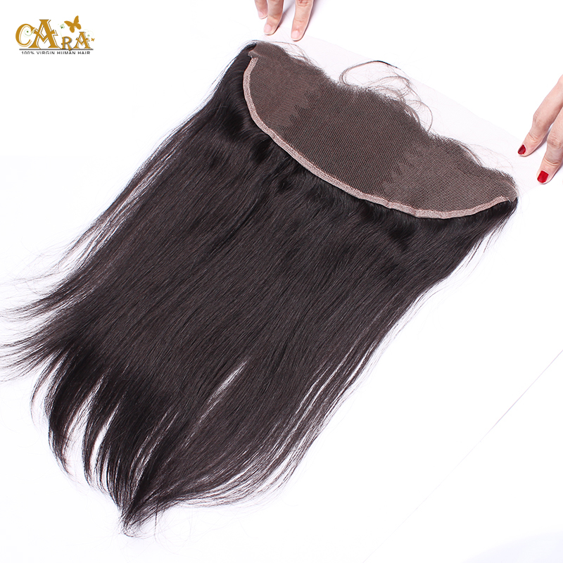 Фотография 6A Grade Peruvian Silk Straight Hair Lace Frontal Closure With Baby Hair 13X4