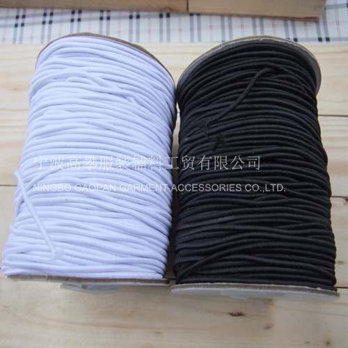 Free shipping! 1.5mm White and Black elastic Cord , 100M/Bobbin(China (Mainland))
