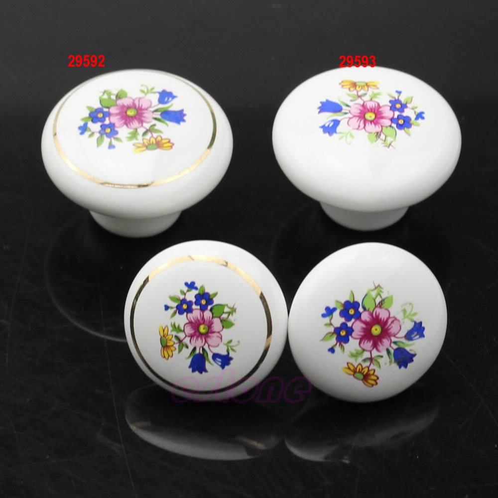 Free Shipping 33MM Round Ceramic Door Knobs Cabinet Drawer Cupboard Locker Kitchen Pull Handle(China (Mainland))