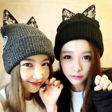 The new diamond ring lace cat ears Rihanna with Knitted Hat Lady turtleneck Wool Hat Winter.women's hat(China (Mainland))