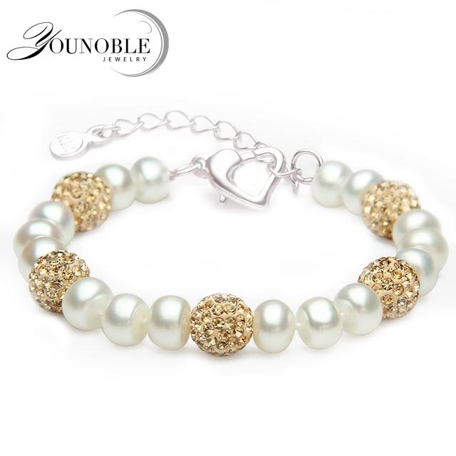 Красивая настоящее пресноводный жемчуг браслет женщин, свадьба натуральный культивированный ...