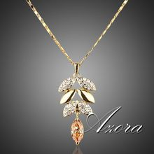 AZORA 18K Real Gold Plated Gold Color Austrian Crystals Leaves Design Pendant Necklace TN0002(China (Mainland))