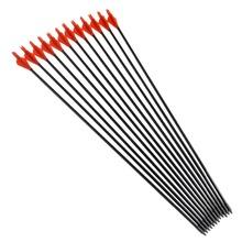 Hot Sale 12pcs Fiberglass Arrow 31 Arrowhead and Red Plastic Feather For Long Bow Arrow Hunting