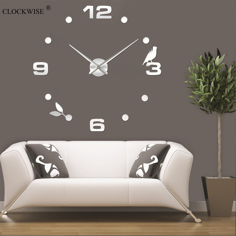 2016 brand new clock wall clocks 3d diy acrylic mirror Stickers Home Decoration Living Room Kitchen bedroom Quartz Needle(China (Mainland))