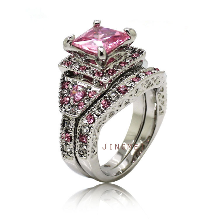 Trendy women party ring set , pink Cubic Zirconia fashion ring 2015 , factory wholesale big ring jewelry R7523F <br><br>Aliexpress