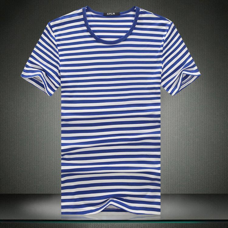 Tshirt 2015 summer t shirt men brand new mens t shirt for Blue white striped t shirt mens