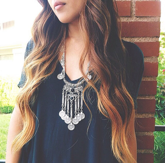2015 Hot Boho Gypsy Tibetan Style Gun Black Long Vintage Coins Bohemian Coin Necklace Tassel Pendant
