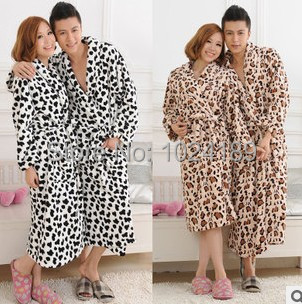 hot sale2014new bathrobe men flannel bathrobes lover's couple sleepwear men women winter warm leopard sleepwear nightgownsS6
