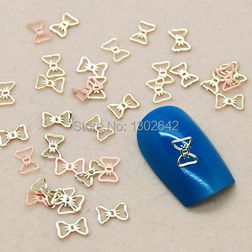 K55 200pcs/lot Simple Hollow Bowknot Line DIY Jewelry Metal Nail Art Tiny Slice Metal Decoration For Nails(China (Mainland))