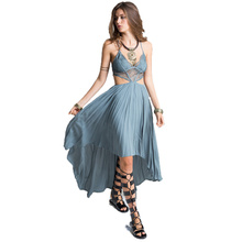 Smoves Woman Deep V Neck Floral Lace Bodice Cut Out High Low Maxi Long Dress 2017 New Beach Poplin Bohemian Dresses GD302(China (Mainland))