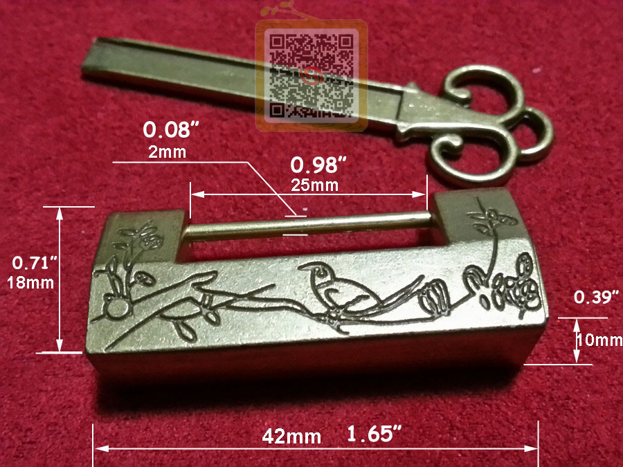 Chinese old style excellent carved bird flower leaf for Jewelry box with key