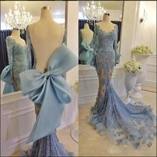 Luxury Long Applique Sequins Prom Gown With Elegant Sheer Scoop Neck Long Sleeve Open Back Evening Dresses 2017 New(China (Mainland))