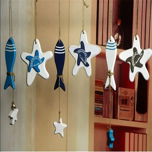 Wood Crafts Ornaments Fish <font><b>Home</b></font> Hanging Stores <font><b>Decoration</b></font> Starfish For Household DIY Supplies