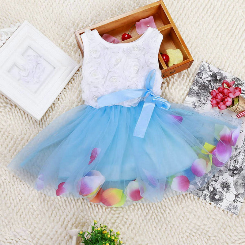 New Toddler Baby Kid Girls Princess Party Tutu Lace Bow Flower Dresses Clothes Free Shipping