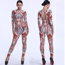 S~XXXL Plus Size women Tribal Tattoo Printed Jumpsuit Romper Curvy African Aztec Bodysuit Celebrity Catsuit Playsuit Tracksuit